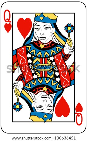 Queen of Hearts playing card - stock photo