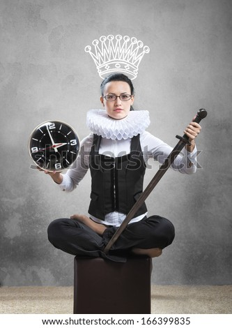 Queen of office. Business lady in ruff collar with a clock, a sword and a pictured crown - stock photo