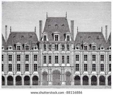 Queen pavilion in place des Vosges (formerly place Royale). By unidentified author, published on Magasin Pittoresque, Paris, 1844 - stock photo