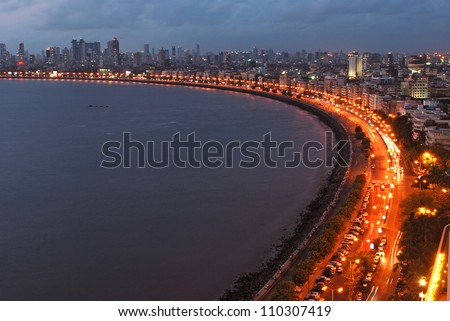 Queen's Necklace, Mumbai, India - stock photo