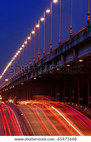 Queen Sirikit Freeway At Twilight, Bangkok - stock photo