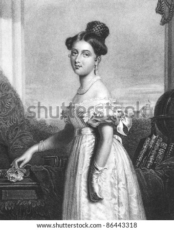 Queen Victoria (1819-1901). Engraved by J.Cochran and published in The Gallery of Engravings, United Kingdom, 1846. - stock photo