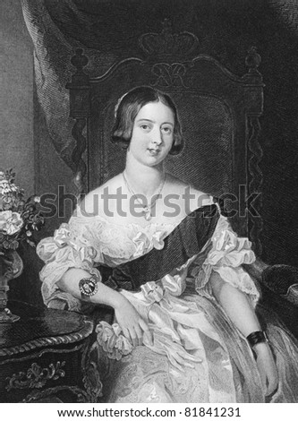 Queen Victoria (1819-1901). Engraved by W.Holl and published in The Queens of England encyclopedia, United Kingdom, 1890. - stock photo