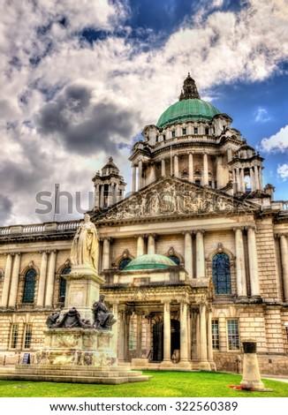 Queen Victoria Memorial and Belfast City Hall - Northern Ireland - stock photo