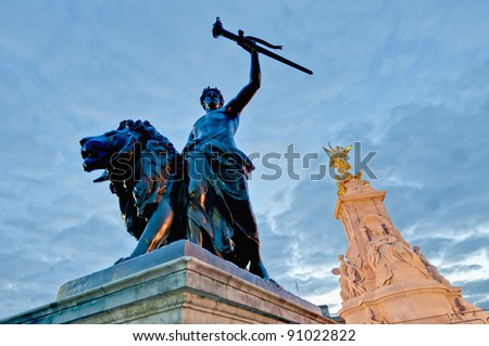 Queen Victoria Memorial in front of Buckingham Palace at London, England - stock photo