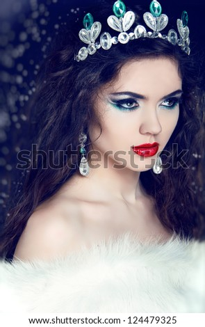 Queen. Winter Girl in Luxury Fur Coat - stock photo