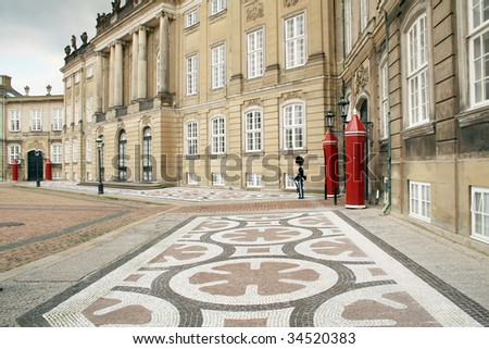 Queens castle in denmark. residence of danish royal family in copenhagen called Amalienborg