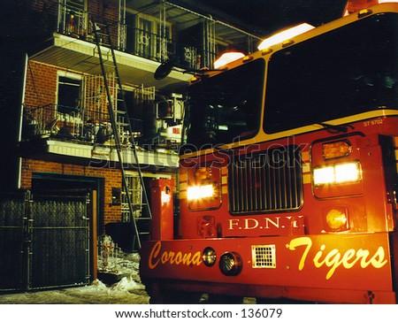Queens Fire1 - stock photo