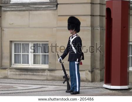 Queens guard, Copenhagen, Denmark, Amalienborg Castle - stock photo
