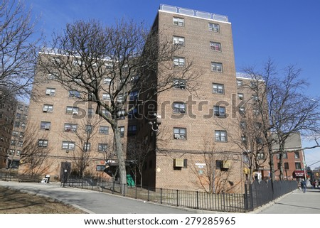 QUEENS, NEW YORK - MARCH 24, 2015: New York City Housing Authority Public Housing  in Astoria - stock photo