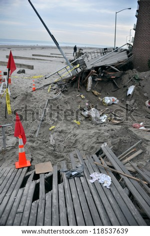 QUEENS, NY - NOVEMBER 11: Deamaged homes and aftermath recovery in the Rockaway area due to impact from Hurricane Sandy in Queens, New York, U.S., on Novemeber 11, 2012.