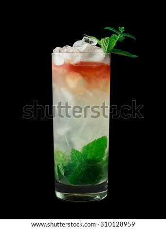 Queens Park Swizzle is a classic cocktail from the 1920's that contains rum, lime juice, mint, simple syrup, sugar and bitters. Isolated on black.
