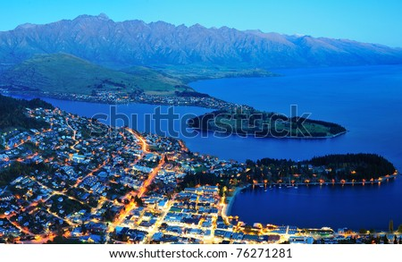 Queens town at night, south island, new zealand - stock photo
