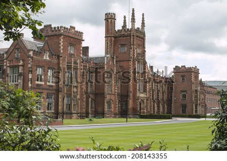 Queens university in Belfast with clouds - stock photo