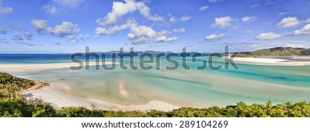 Queensland Great Barrier reef in coral sea - panoramic view on witehaven lagoon and beach of whitsunday islands - stock photo