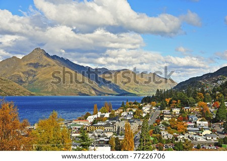 Queenstown and Cecil peak, south island, new zealand - stock photo