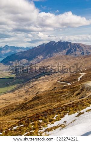 Queenstown area overlook from top of the Coronet Peak, New Zealand - stock photo