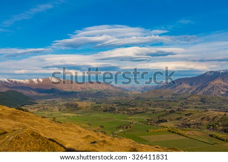 Queenstown area overlook from top of the Coronet Peak, New Zealand - stock photo