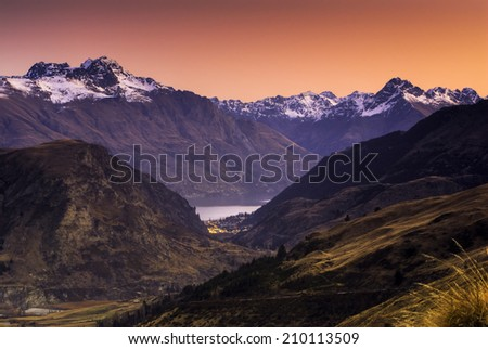 Queenstown at sunset, South Island, New Zealand - stock photo