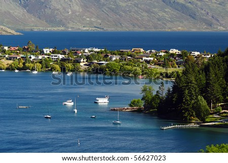Queenstown lake - stock photo