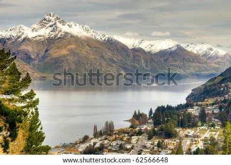 Queenstown Landscape across lake Wakatipu - stock photo