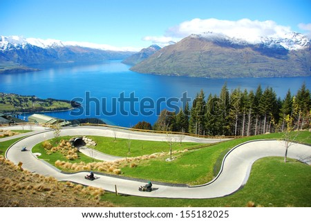 Queenstown luge from Bob's Peak - stock photo