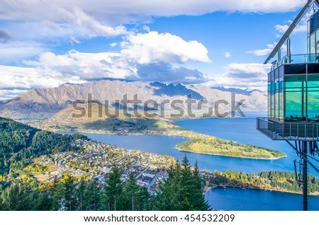 Queenstown,New Zealand - April 25,2016 : Beautiful cityscape view from the Queenstown Skyline, New Zealand - stock photo