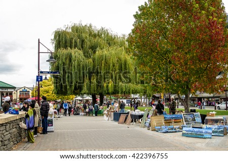 Queenstown,New Zealand - April 30,2016 : Creative Queenstown Arts and Crafts Markets which is located at the lake front at Earnslaw Park in Queenstown. There are selling wide variety of goods. - stock photo