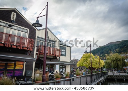 QUEENSTOWN, NEW ZEALAND-MAY 10, 2016 : A beautiful scenery of Queenstown, New zealand from a harbor - stock photo