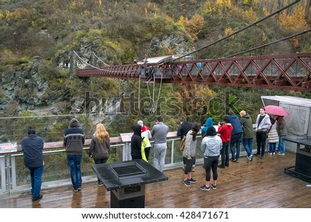 Queenstown, New Zealand - 12 May, 2016: Kawarau Bridge near Queenstown. Commercial Bungy Jumping of 43m jump was born here. - stock photo