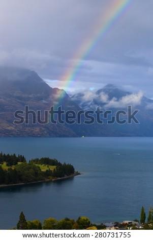 Queenstown, New Zealand rainbow - stock photo