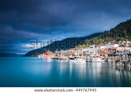 QUEENSTOWN, NEW ZEALAND - September 8: Lake Wakatipu on 8 September, 2015 in Queenstown, New Zealand. Queenstown is the Southern Hemisphere's premier four season lake and alpine resort. - stock photo