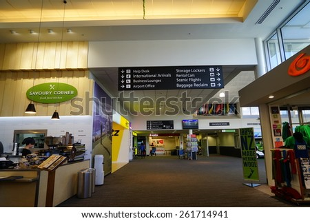 QUEENSTOWN, NZ - Mar.15:airport departure lounge on Mar.15 2015.It's one of the most popular travel destination in New Zealand. - stock photo