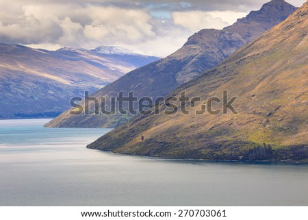 Queenstown view from above, Otago region, South Island, New Zealand. - stock photo
