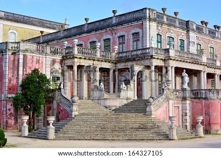 Queluz National Palace, stairway of the Robillon wing. Municipality of Sintra, Lisbon district, Portugal. - stock photo