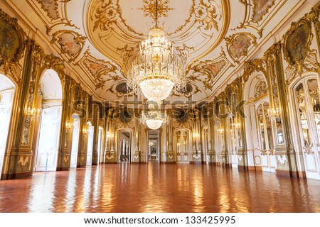 QUELUZ - PORTUGAL - JULY 4 - The Ballroom of Queluz National Palace on July 4 2012. Despite being far smaller, the palace is often referred to as the Portuguese Versailles - stock photo