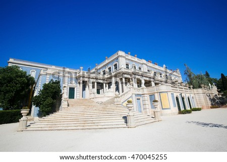 QUELUZ, PORTUGAL - JULY 14, 2016: The Palace of Queluz is a Portuguese 18th-century palace located at Queluz, in Sintra Municipality, Lisbon District.