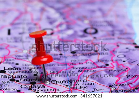 Queretaro pinned on a map of Mexico  - stock photo