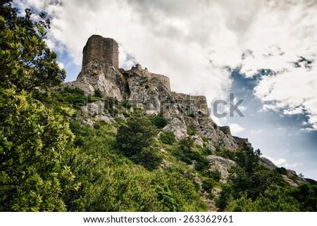 Queribus castle in France - stock photo