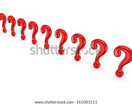 Query marks.Isolated on white.3d rendered.