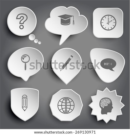 query sign, graduation cap, clock, magnifying glass, pencil, chat symbol, globe, human brain. White raster buttons on gray. - stock photo