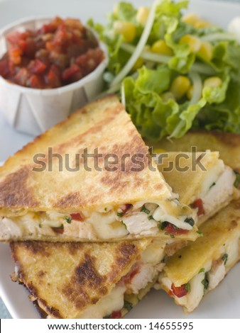 Quesadillas with Cajun Chicken Cheese Tomato Salsa and corn Salad