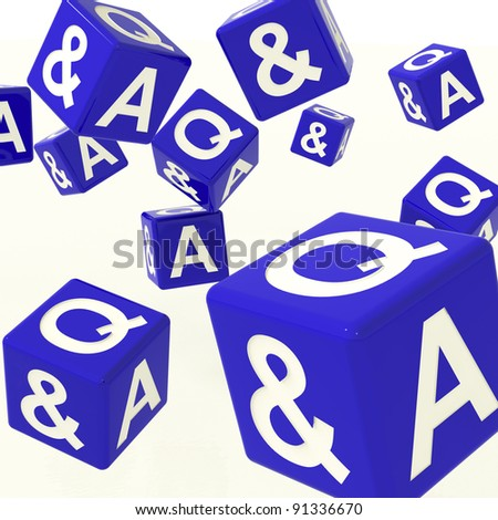 Question and Answer Blue Dice As Symbol For Information - stock photo