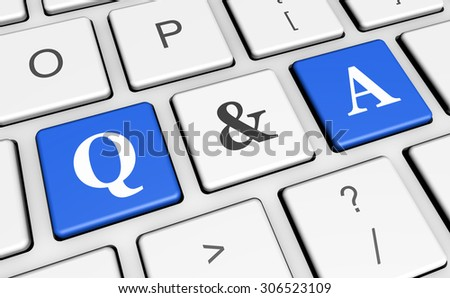 Question and answer keyboard concept with q & a sign and letters on blue computer keys for blog, website and online business.