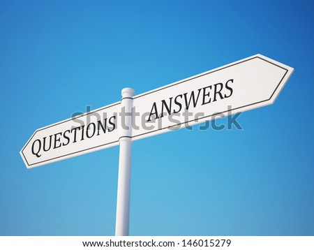 Question and Answer Signpost with Clipping Path
