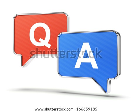Question and answer speech bubbles isolated on white. Support and assistance concept. - stock photo