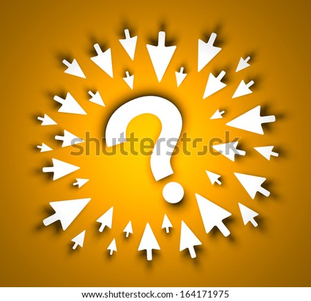 Question and cursors - stock photo