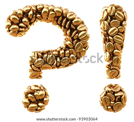 question and exclamation marks from golden coffee beans. isolated on white.