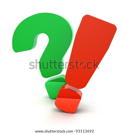 Question and exclamation marks on a white background - stock photo