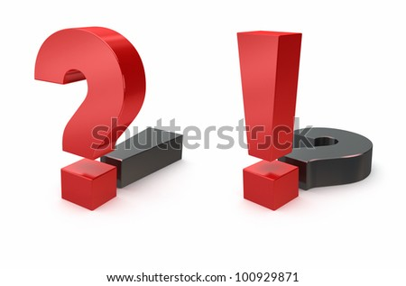 question and exclamation sign on white background - stock photo